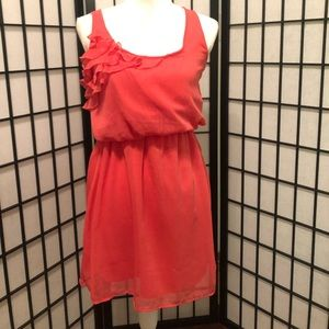 Eyeshadow M coral ruffle criss-cross sundress